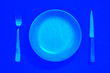 canvas print picture - Plate, fork and knife top view - Blue - Pop and bright colors