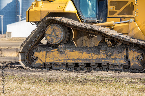 Closeup of bulldozer, crawler tractor drive track Canvas Print