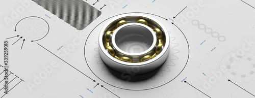 Ball bearing, metal spare part on a blueprint. 3d illustration Canvas Print