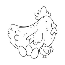 Hen Chicken And Eggs Farm Animal Isolated Icon On White Background Line Style