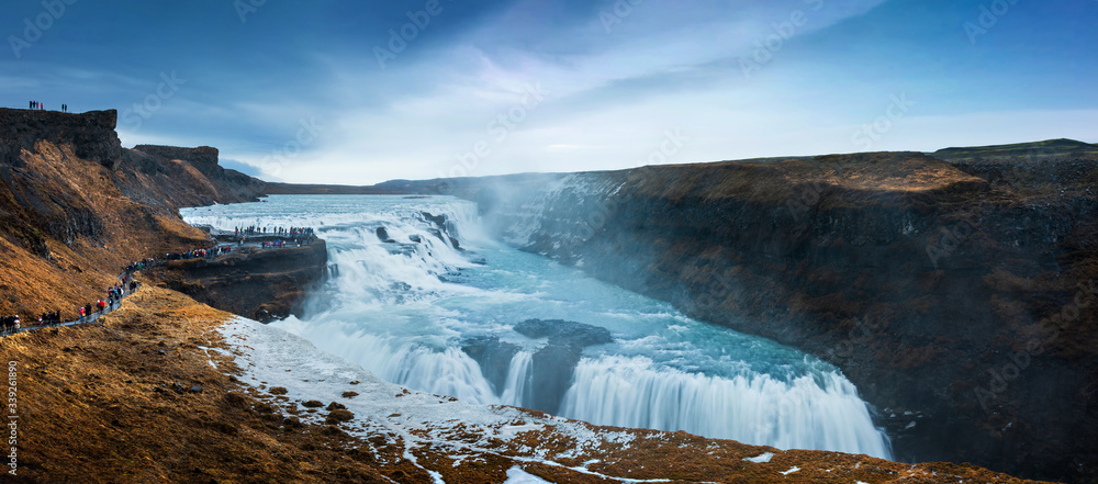 Fototapeta Stunning Gullfoss Falls waterfall in Iceland on a Golden circle route