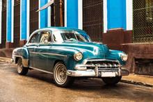 Old Blue Vintage Classic American Car In The Street Of Havana Cuba