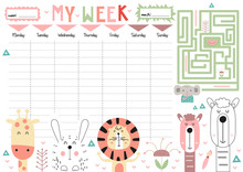 Weekly Planner With Cute Funny...