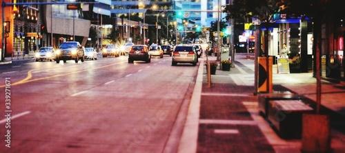 Obraz Traffic On City Street During Sunset - fototapety do salonu