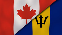 The Flags Of Canada And Barbad...