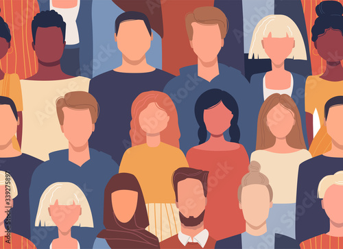 Vector seamless pattern in flat style with people of different nationalities, cultures. Global society. Cultural diversity. Multiethnic group. Friendship, communication, traveling. Universal design
