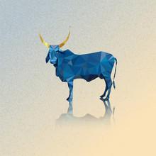 3d Indian Blue Cow And Golden Horns Vector Illustration Polygonal Art