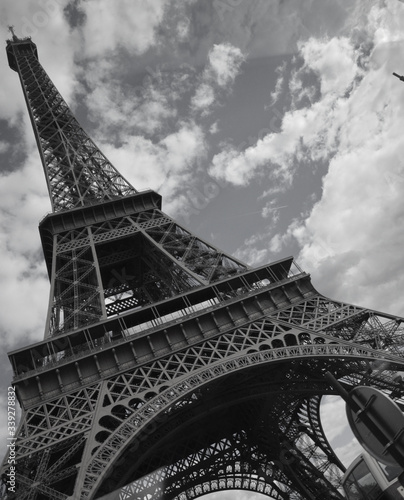 Low Angle View Of Eiffel Tower Against Clouds #339278832