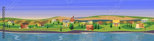 Obraz na płótnie Lovely small town flat cartoon landscape countryside panorama background vector illustration