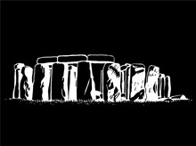 Graphical Stonehenge Isolated On Black Background, Vector Sketchy Illustration,England