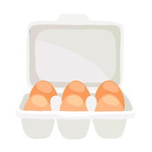 Eggs In A Tray On A White Back...