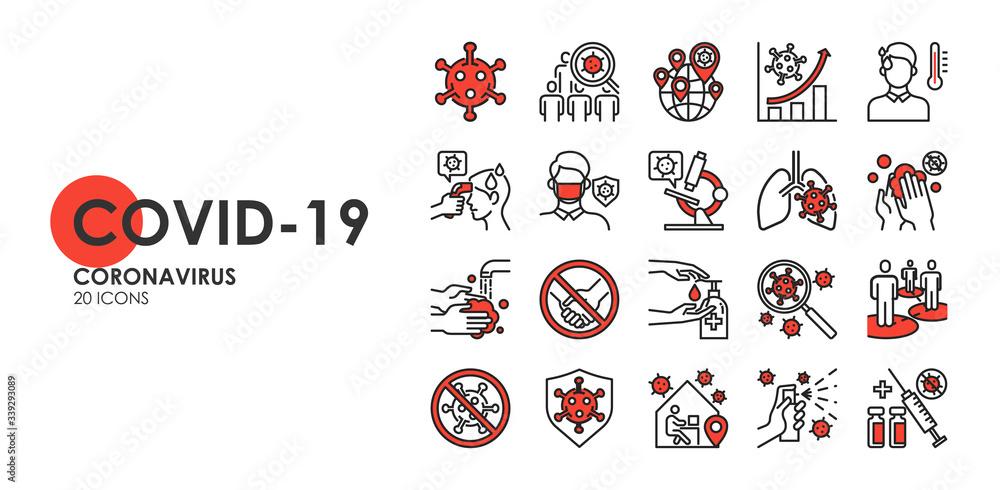 Fototapeta Set of Coronavirus disease COVID-19 Protection Related Vector Line Icons. Such as Covid-19 prevention, Coronavirus Symptoms, Covid outbreak, Social distancing, vector icon