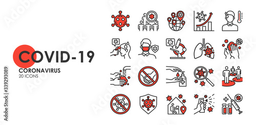 Obraz Set of Coronavirus disease COVID-19 Protection Related Vector Line Icons. Such as Covid-19 prevention, Coronavirus Symptoms, Covid outbreak, Social distancing, vector icon - fototapety do salonu