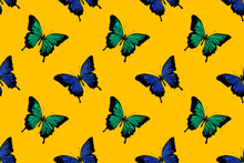 Seamless Pattern Of Blue And Green Butterflies Drawn In Watercolor On A Colored Background