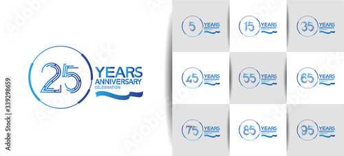 Anniversary logotype set with blue color Fototapete