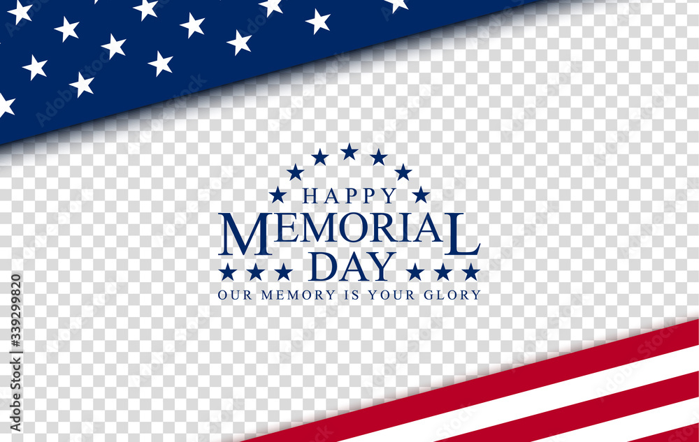 Fototapeta Memorial day with, vector image, poster and banner for the holiday and sales day. American flag on the background of a wooden board with the inscription.