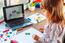 Little Girl Molding Colorful Clay Cloud Watching Online Learning Lesson