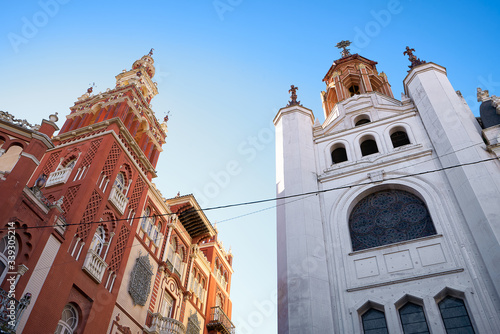 Beautiful antique traditional red and white buildings in Badajoz, Spain