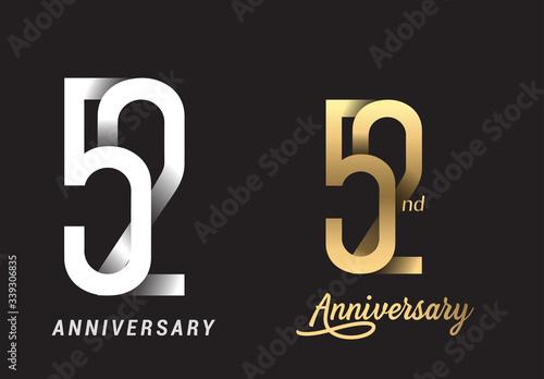 Cuadros en Lienzo 52 years anniversary celebration logo design