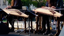 Low Section Of Musicians Playing Appalachian Dulcimers On Street
