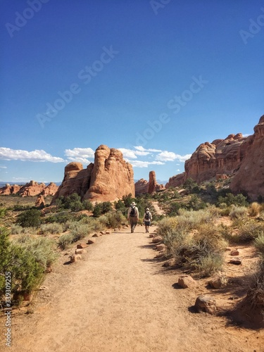 Slika na platnu Rear View Of Men Walking On Footpath Amidst Rock Formation In Arches National Pa