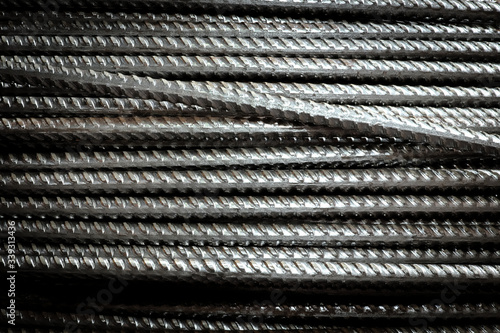 Fotografia Close-up stacked wire steel rebar material, rebar for industrial and constructio