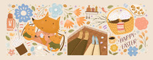 Happy Easter! Set Of Illustrations With Fox Family Paints Eggs; Couple Celebrating On Picnic; Easter Cakes In Basket, Flowers And Isolated Objects. Vector Cute Drawings For Card, Postcard Or Poster