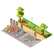 Urban Eco Transport Isometric Design Concept With Available Bicycles And Electric Scooters For Rent. Station And Cashier Machine For Payment. Parking For City Ecology Transport. 3d Vector Illustration