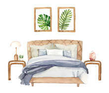 Watercolour Hand Painted Home Interior Bedroom Sleep Furniture Illustration On White Background