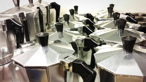 Fotografie, Obraz Espresso Makers Arranged In Room