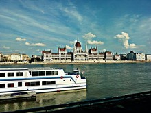 Ship Moving On Danube River In...