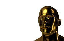 Abstract  3D Render Illustration Image With A Human Head With Gold Texture