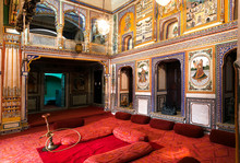 Interior Of Historical Podar Haveli Museum, Built In 1902 With Antique Collections Of Fresco
