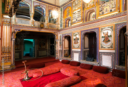 Interior of historical Podar Haveli Museum, built in 1902 with antique collectio Canvas Print