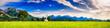 Leinwanddruck Bild - Sommer im Schwangau mit Sankt Cooman und Neuschwanstein vor den Alpen, Bayern, Deutschland