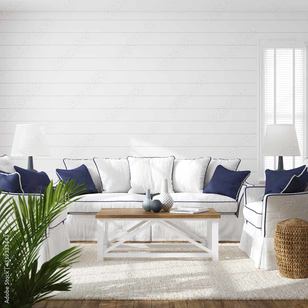 Fototapeta Hampton style living room interior, wall mockup, 3d render - obraz na płótnie