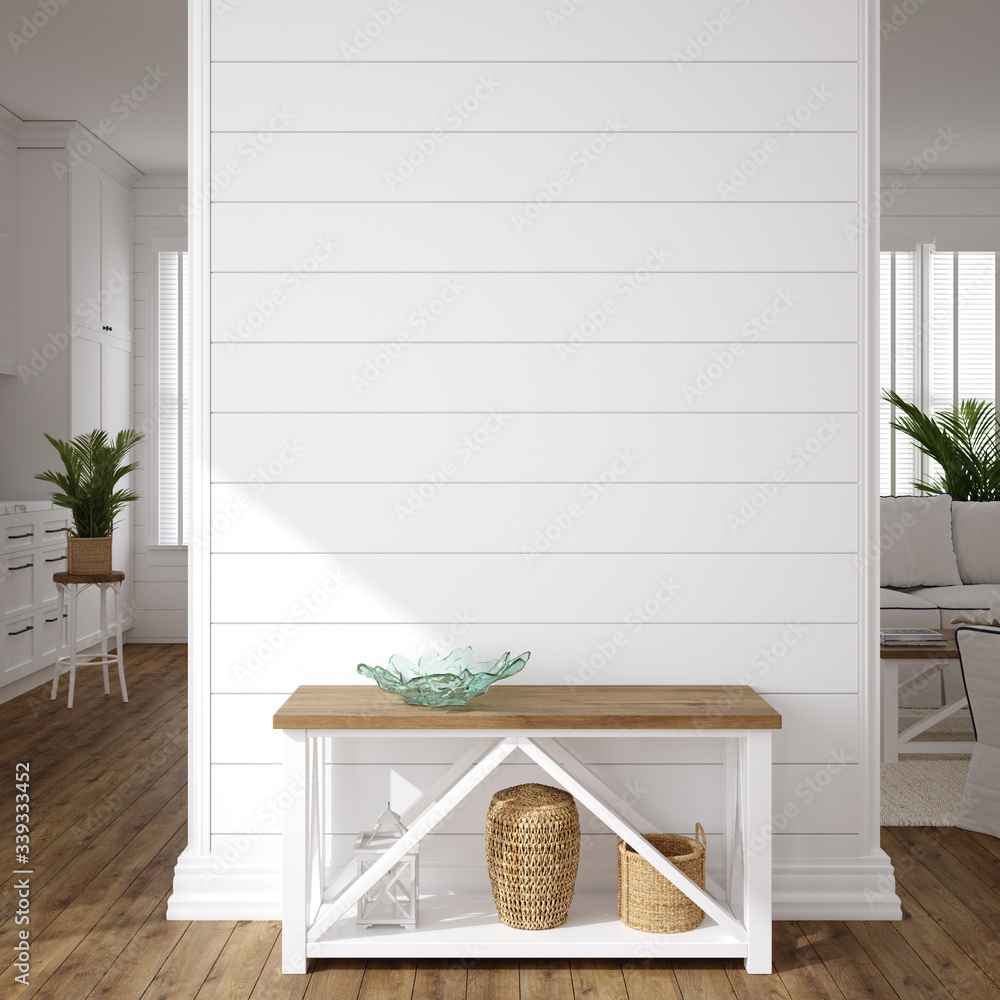 Fototapeta Hampton style living room interior, wall mockup, 3d render
