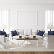 Leinwanddruck Bild - Hampton style living room interior with frame mockup, 3d render