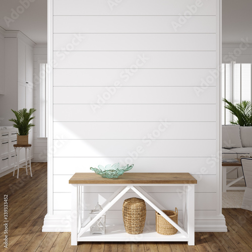 Hampton style living room interior, wall mockup, 3d render Fototapeta