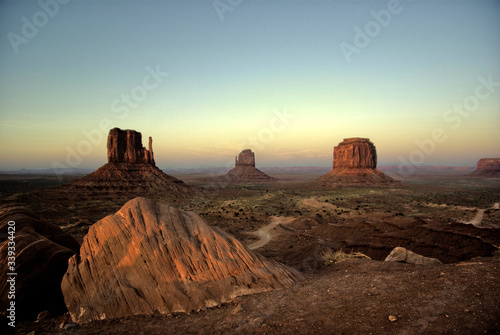 Fotografie, Obraz View Of Monument Valley Against Clear Sky At Sunset