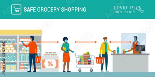 Cuadros en Lienzo Safe grocery shopping during coronavirus epidemic