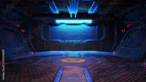 Fotografija Urban city retro futuristic back drop sci fi corridor room interior with neon accents