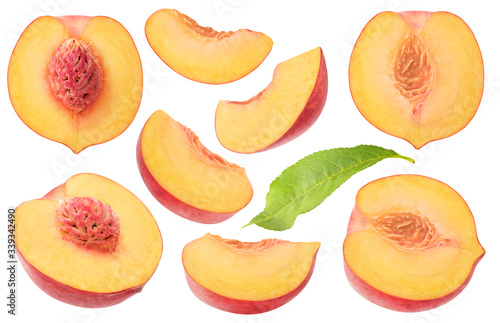 Fototapeta Isolated peaches collection