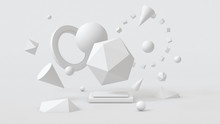 White Geometric Shapes. Abstract Illustration, 3d Rendering.