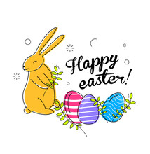Happy Easter Eggs And Bunny Il...