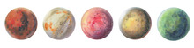 Set Of Colorful Planets Isolated On White Background. Watercolor Hand Drawn Abstract Planet Balls Magic Art Work Illustration. Colorful Abstract Geometric Circle.