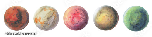 Fototapeta Set of colorful planets isolated on white background. Watercolor hand drawn abstract planet balls magic art work illustration. Colorful abstract geometric circle. obraz