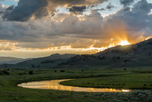 Sunset Reflections In Slough Creek, Lamar Valley, Yellowstone National Park, Wyoming, USA