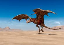 Dragon Is Taking Off On Desert...