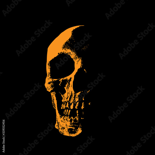 Skull portrait silhouette in contrast backlight. Wallpaper Mural
